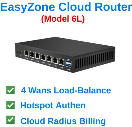 EasyZone Cloud Router (Model 6L) พร้อม Load-Balance 4 wans และระบบ Hotspot Authen