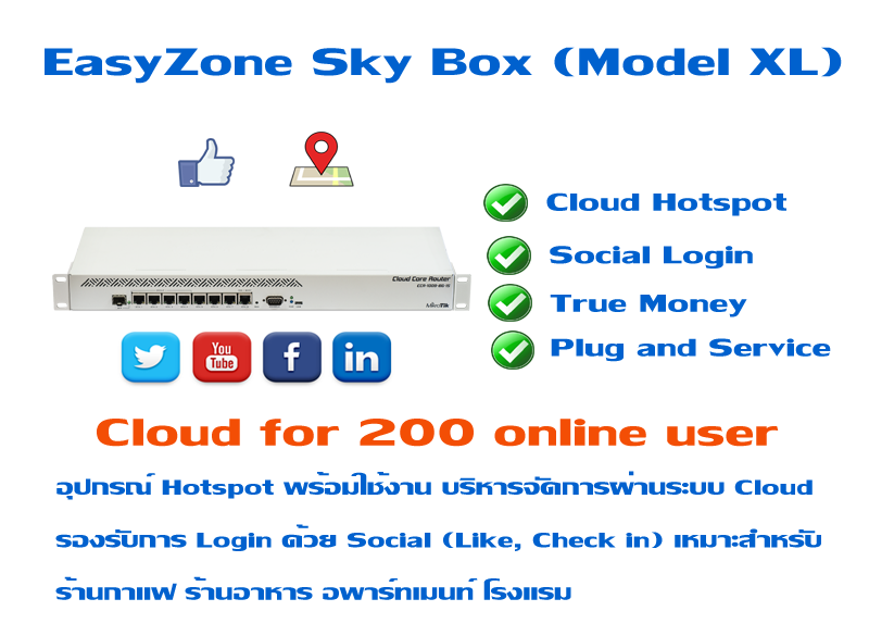 EasyZone Sky Box (Model XL)  Unlimited Cloud พร้อม Social LOGIN
